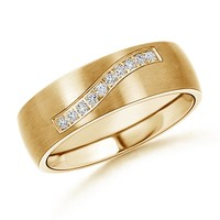 0.12 cttw Satin Finish Diamond Men's Wedding Band - WRMD_SR0788D