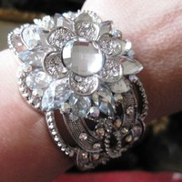 Bridal Cuff Bracelet Crystal Rhinestones Wedding Flower - Vivian Feiler Designs | Wedding Jewelry |