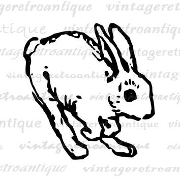 Rabbit Graphic Digital Download Bunny Image Nursery Jumping Rabbit Printable for Transfers Pillows Tea Towels etc HQ 300dpi No.4622
