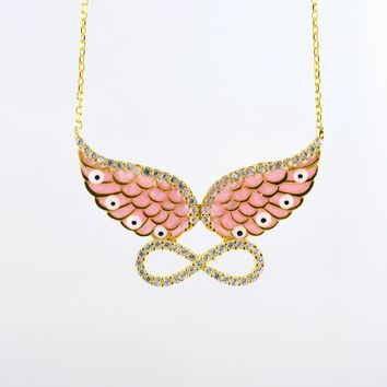 925 Sterling Silver Yellow Gold Plated Angel Wings Infinity Necklace