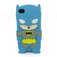 DD(TM) Style02 3D Cute Cartoon Super Hero Blue Batman Soft Silicone Case Skin Protective Cover for Apple iPhone 5C with 3 in 1 Anti-dust Plug/LCD Cleaning Cloth/Cable Tie