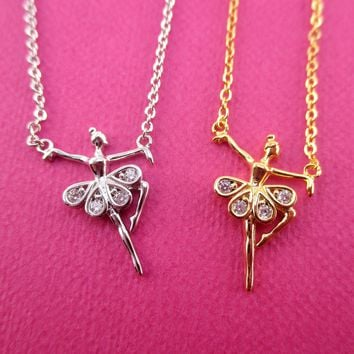 Musical Dancer Ballerina Girl with Rhinestone Tutu Shaped Pendant Necklace