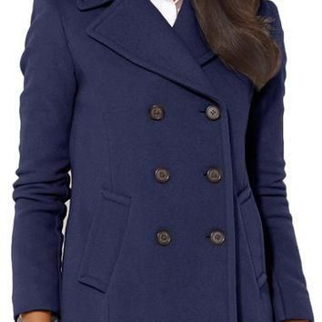 Lauren Ralph Lauren Double Breasted Wool Blend Peacoat | Nordstrom