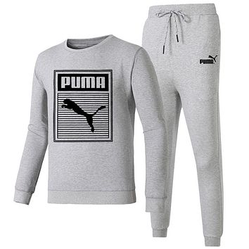 PUMA 2018 autumn and winter new long-sleeved pullover sweater beam foot sweatpants two-piece Grey