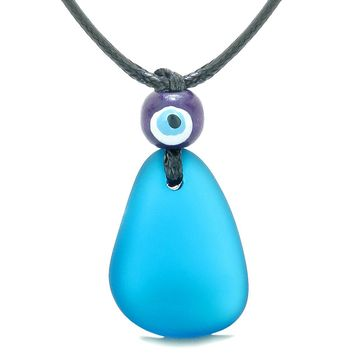 Free Form Unique Frosted Sea Glass Cobalt Blue Water Drop Evil Eye Protection Amulet Adjustable Necklace
