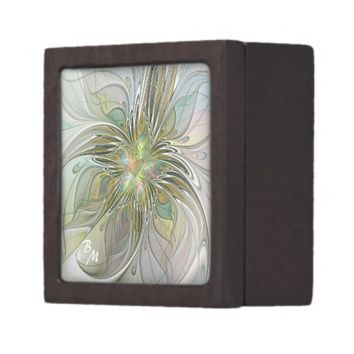 Floral Fantasy, Abstract Fractal Art Monogram Keepsake Box
