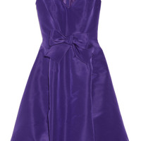 Oscar de la Renta | Bow-embellished silk-faille dress | NET-A-PORTER.COM