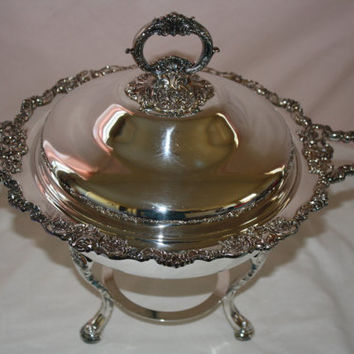 Wallace Baroque Silverplate Holloware Chafing Dish,Silver Serving,Shabby Chic