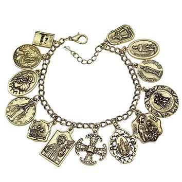 Vintage Gold Plated Catholic Religious Church Medals Charm Saints PRAY FOR US Cross Chain Bracelet Bangle