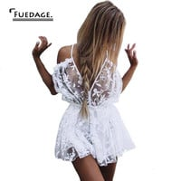 2017 summer white black v-neck Perspective combinaison femme vintage floral print rompers womens jumpsuit cropped beach jumpsuit
