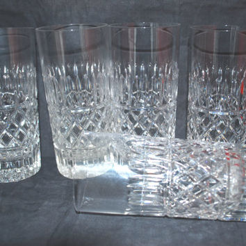 Mad Men Glasses Style Mid Century Set of 5 Tumblers in Clear Glass Diamond Cut