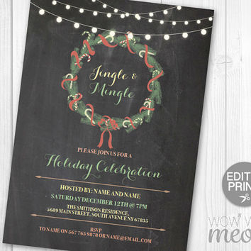 Christmas Party Invitations Wreath Invites Rustic Wood Festive Jingle Mingle Merry Invites INSTANT DOWNLOAD Holidays Printable Editable