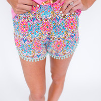MULTI COLOR/MINT POM SHORTS