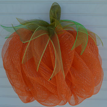 Fall Pumpkin Ribbon Mesh Wreath - Halloween