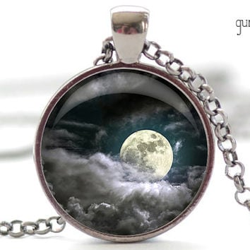 Moon and Clouds Necklace, Night Sky Pendant, Moon Charm (1284)