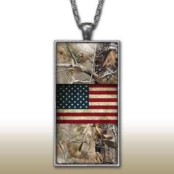 Camo USA Pendant Charm Necklace Distressed American Flag Country Girl Custom Necklace Silver Plated Jewelry