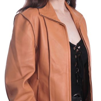 Aaliya Womens Tan Sheepskin Leather Jacket - Super Sale