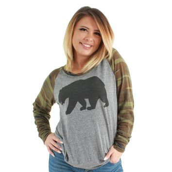 Solid Bear Slouchy Pullover Eco Grey/Camo