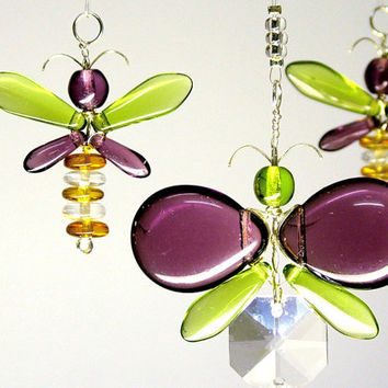 Purple Butterfly Mobile Crystal Suncatcher Kids Mobile Butterfly Ornament Gift Glass Fairy Mobile Hanging Crystal Nursery Decor Kids Gift