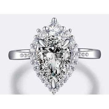 A Flawless 2CT Pear Cut Halo Belgium Lab Diamond Engagement Ring