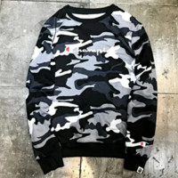 Champion & Bape Aape New fashion bust letter print and back print camouflage couple long sleeve top sweater Black