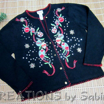 Vintage Christmas Cardigan Sweater by Crystal Kole / size M medium embroidered applique beads sequins Christmas party / FREE SHIPPING (203)