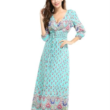 Hot sale 2017 summer women Embroidery long dress ukraine deep v vestidos fashionable woman print floral dress bohemian dresses