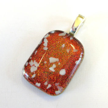 Dark Orange, Red Dichroic Fused Glass Pendant - Tawny Owl -  by mysassyglass
