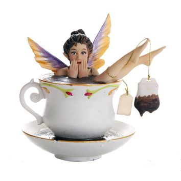Whimsical Fairy Enjoying Bath In Tea Cup Collectible Figurine 5.75H