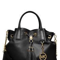 Women's MICHAEL Michael Kors 'Medium' Drawstring Satchel - Black