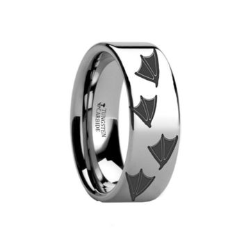 Duck Track Prints Engraved Tungsten Wedding Band