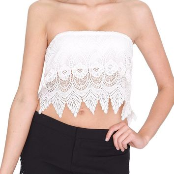 Vacation Tube Top - White Lace