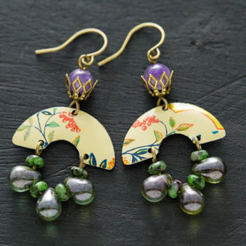 Green and Purple Half Circle Vintage Tin Bohemian Earrings with Amethyst Beads, Glass Drop Beads, Unique Handmade Jewelry, Exotic Jewelry.