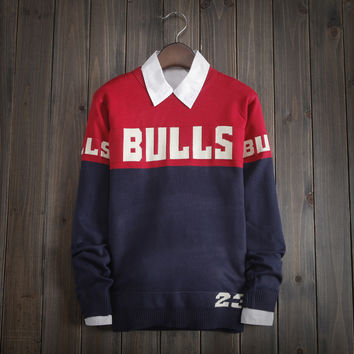 "Mens Long Sleeve Round Collar ""Bulls"" Knit Sweater"