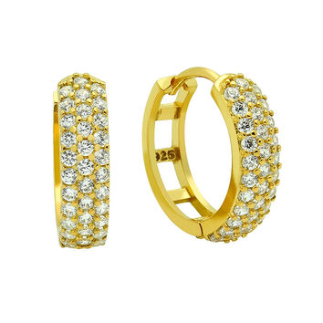 .925 Sterling Silver Nickel Free Gold Plated 17mm Round Huggie Earrings With Tripple Row Cubic Zirconia Pave