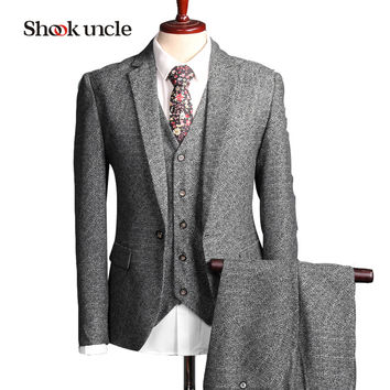 2017 Rushed Retro Light Colored Grey Tweed Custom Made Groom Tuxedos Mens 3 Piece Suits Slim Fit Tailor Wedding For Men #nz108