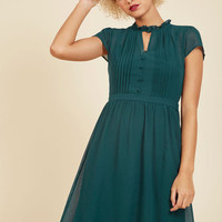Oh Say Can Museum A-Line Dress in Teal   Mod Retro Vintage Dresses   ModCloth.com