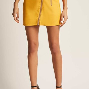 Zipper Faux Leather Mini Skirt