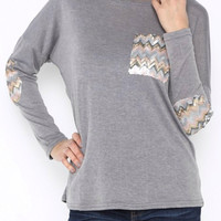 Gray Top with Chevron Patches