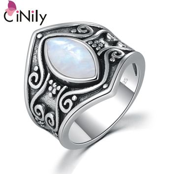 CiNily Vintage Silver Natural Moonstone Bohemian Boho Fashion Jewelry for Women Big Ring Size 5-11 NJ11176