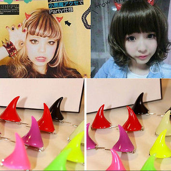 1 Pair Horror Gothic Cosplay Costume  Demon OX Horn Halloween Hair Clip Pin HUUS