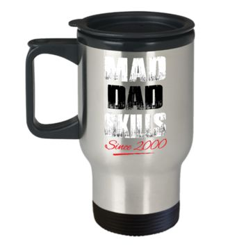Mad Dad Skills Travel Mug For Hot Beverages - Premium Quality Made In USA - Unique Gift For Husband & Father From Wife, Daughter, Girlfriend, Fiancée
