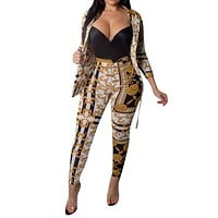 Gold Chain Printed Two Piece Set Women Tracksuits Autumn Spring Long Sleeve Button Up Shirt And Pant Ladies Boho Sweat Suit