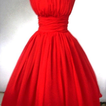 Elegant Red chiffon 50s Dress Customize
