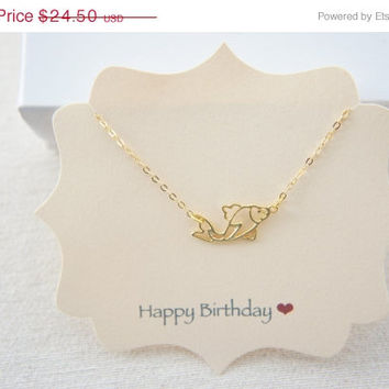 10% OFF Gold vermeil over sterling silver KOI fish necklace, lucky charm, fortune, birthday, dream, gift
