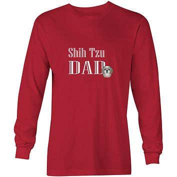 Gray Silver Shih Tzu Dad Long Sleeve Red Unisex Tshirt Adult Double Extra Large BB5258-LS-RED-2XL