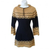 Shop Now! Ugly Sweaters: Hessi Tan & Navy Tacky Ugly Ski Sweater Dress Women's Size Medium (M) $22 - The Ugly Sweater Shop