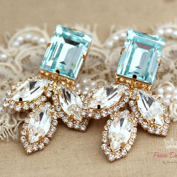 Aqua Blue white crystal Statement earrings, Swarovski chandeliers,Estate earrings, Bridal jewelry - 14 K gold plated rhinestone earrings.
