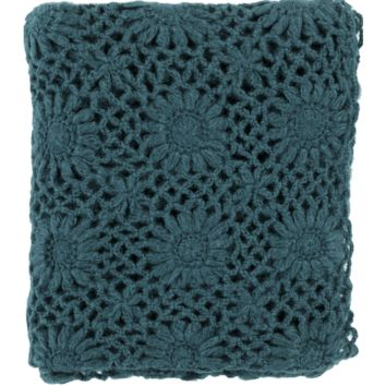 Teal Fleur Crochet Throw Blanket