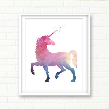 Unicorn Illustration, Printable Wall Art, Galaxy Wall art, Universe, Unicorn Art Print, Cosmos, DIGITAL DOWNLOAD, Magic, Universe, Stardust